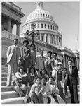 Mickey Leland with students of HISD Westbury High School on the steps of the Capitol 3/15/1979