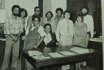 Mickey Leland with office Personnel ; Mike Hudson ; Keith Wade ; Unknown others