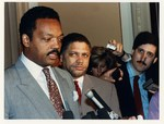 Mickey Leland with Jesse Jackson, Meryvn Dymally at press conference by The Mickey Leland Papers & Collection Addendum. (Texas Southern University, 2018)