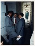 Mickey Leland with Jesse Jackson, Meryvn Dymally at press conference