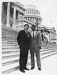 Mickey Leland with Dale Phillips on capitol steps by The Mickey Leland Papers & Collection Addendum. (Texas Southern University, 2018)