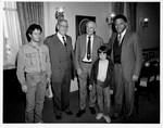 Mickey Leland with Harley and Joe Cross ; Mitch Synder ; Brian Dennehy at Texas Delegation lunch by The Mickey Leland Papers & Collection Addendum. (Texas Southern University, 2018)
