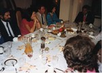 Mickey Leland with others at dinner; meetings ; foreign trip by The Mickey Leland Papers & Collection Addendum. (Texas Southern University, 2018)