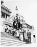 Mickey Leland with interns on steps of the capitol by The Mickey Leland Papers & Collection Addendum. (Texas Southern University, 2018)