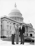 Mickey Leland on steps of the US Capitol with Interns Josh Samuals ; Doug Dan