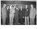 Mickey Leland with Jim McCann; Anthony Hall ; Ben Reyes and others