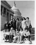 Mickey Leland with  students in office and capitol grounds