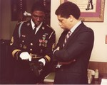 Mickey Leland with Honor Guard in office